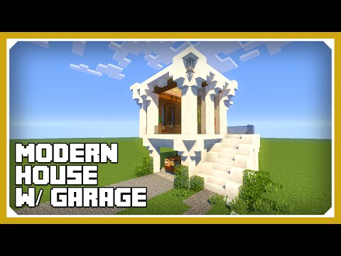 Minecraft How To Build A Small Modern House W Garage Tutorial